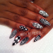 white & black stiletto nail art